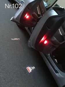 AUDI  LOGO PROJECTOT LIGHTS Nr.100  (quantity 1 = 2 Logo Films /2 door lights)