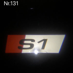 AUDI S1  LOGO PROJECTOT LIGHTS Nr.127  (quantity 1 = 2 Logo Films /2 door lights)