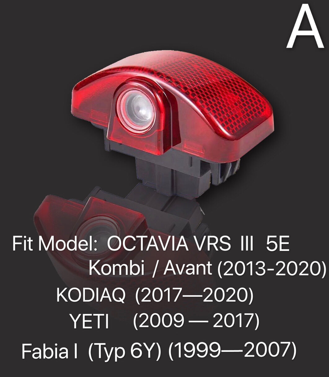 SKODA  KAROQ LOGO LIGHTS Nr.115 (quantity  1 =  2 Logo Film /  2 door lights)