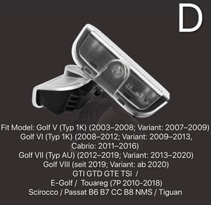Volkswagen Door lights GOLF Logo  Nr. 32  ( quantity 1 = 2 Logo Film/ 2 door lights)