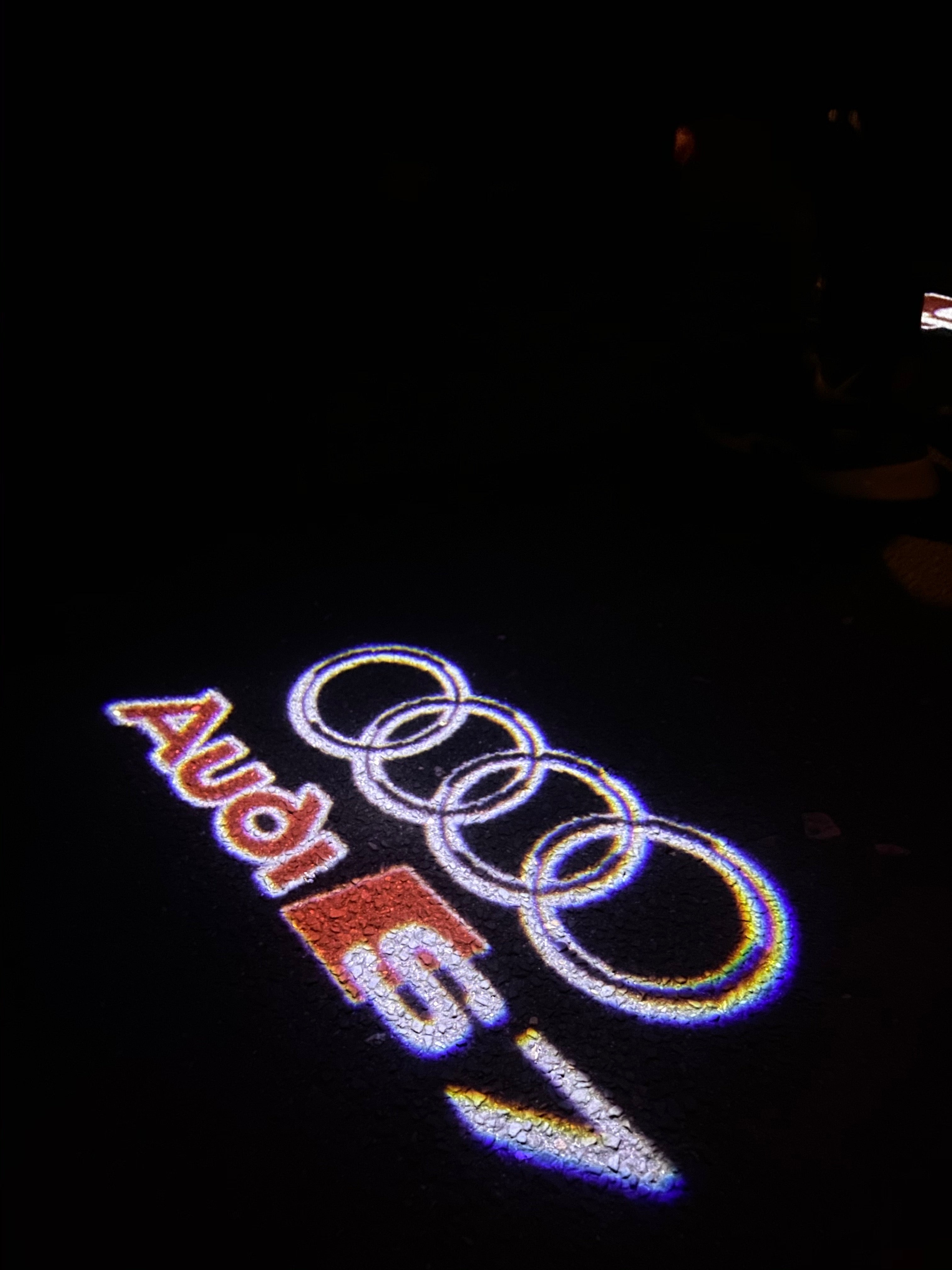 AUDI  LOGO PROJECTOT LIGHTS Nr.37  (quantity 1 = 2 Logo Films /2 door lights)