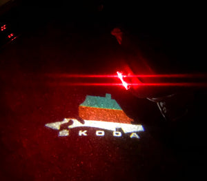 SKODA LOGO PROJECTOT LIGHTS Nr.48 (quantity  1 =  2 Logo Film /  2 door lights)
