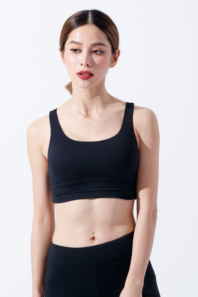 Medium-Support Widened lower sports Sports Bra - Black - PrettyAim Thailand