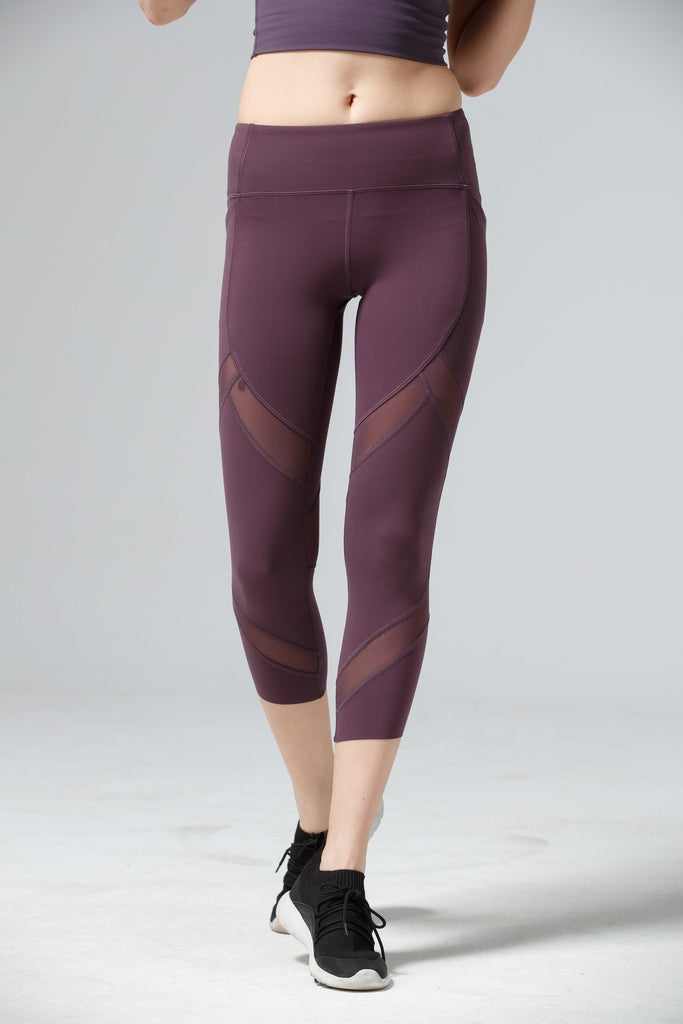 High-waist Lady Mesh Capri-Purple - PrettyAim Thailand