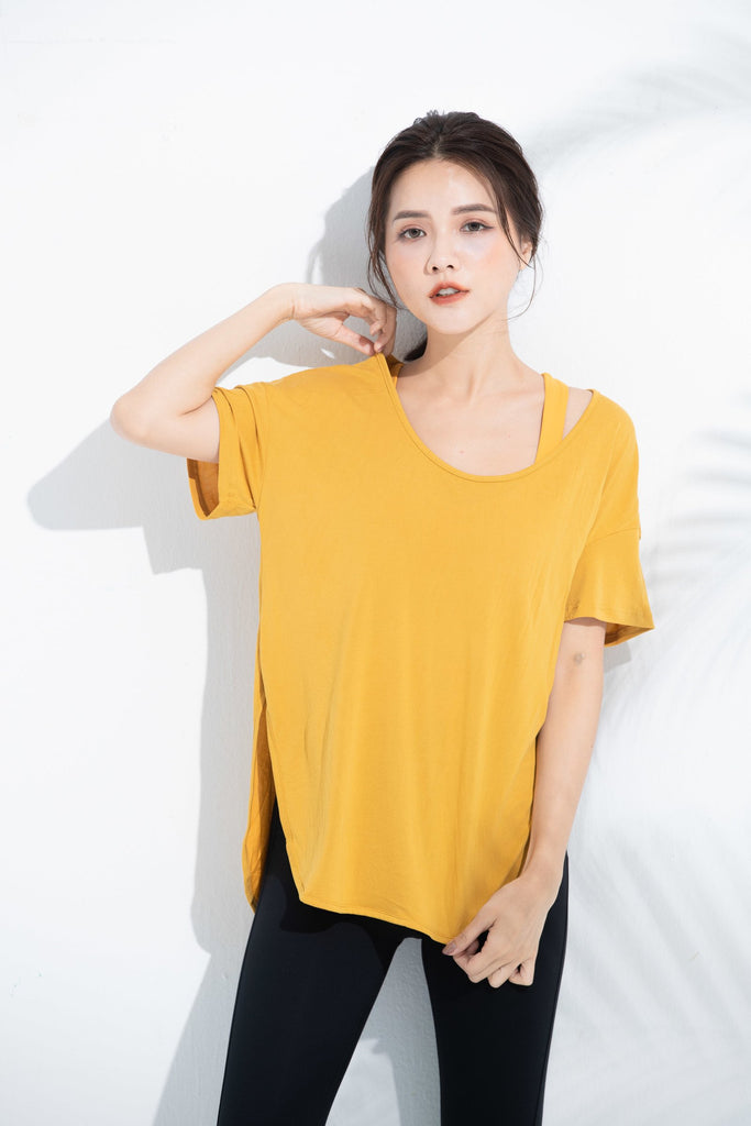 Cozy Short Sleeve Tee-Yellow - PrettyAim Thailand