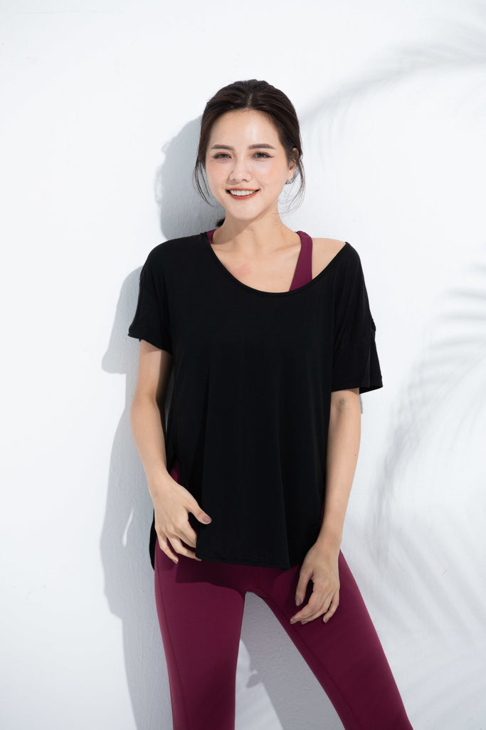 Cozy Short Sleeve Tee-Black - PrettyAim Thailand