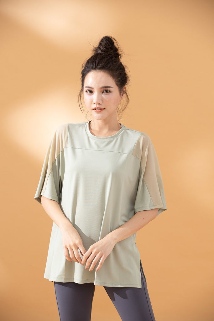 Mesh Elbow-Length Tee-Green