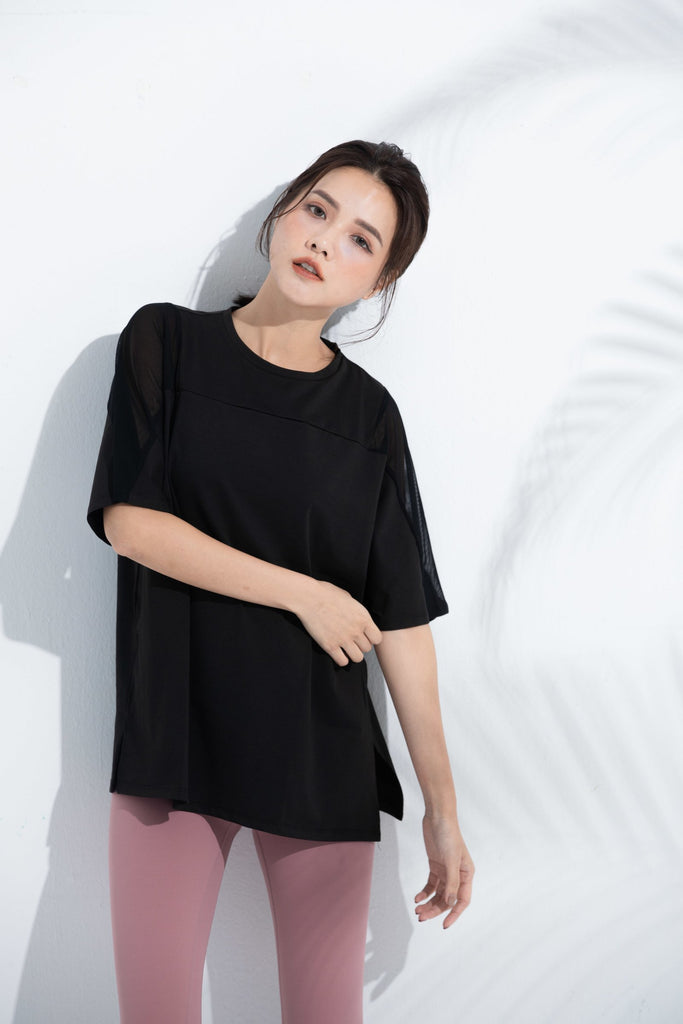 Mesh Elbow-Length Tee-Black