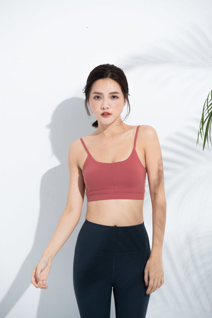 Light-Support Tank Top Sports Bra-Red-Orange - PrettyAim Thailand