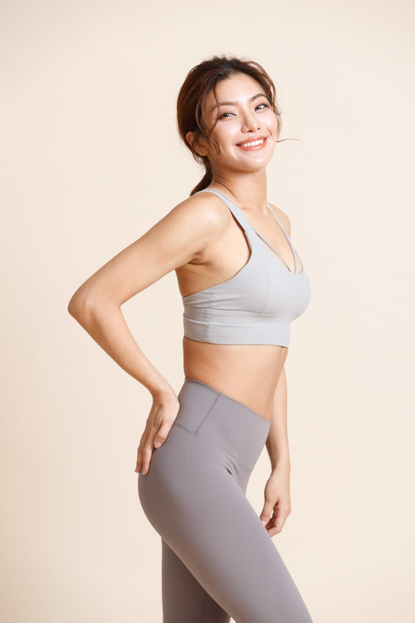 Medium-support sexy V-line Sports Bra - Gray
