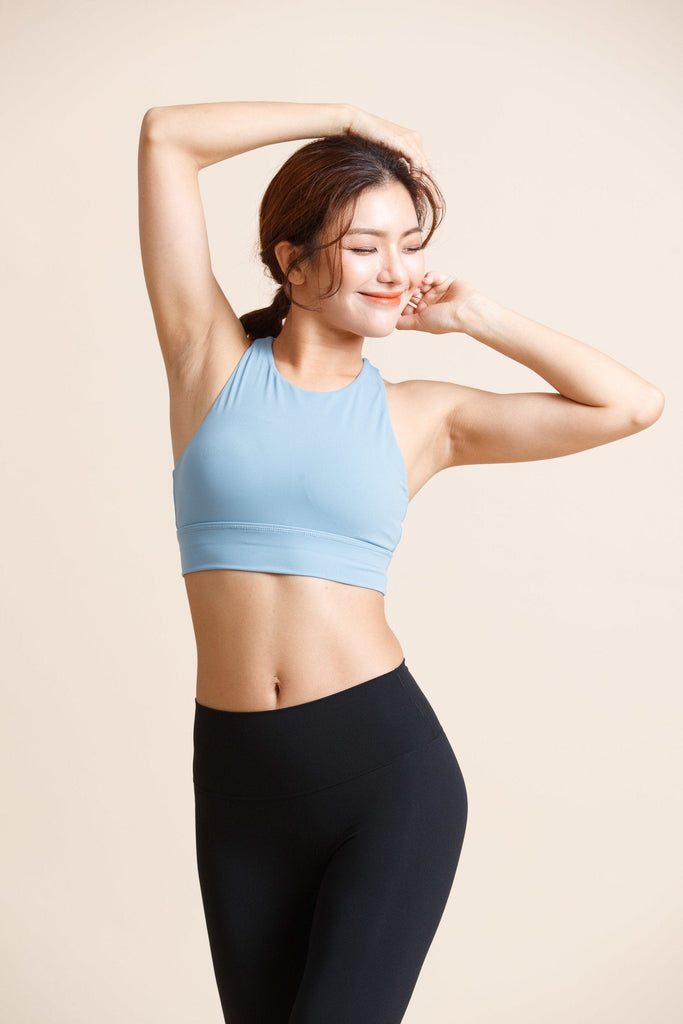 Maximum-support off shoulder Sports Bra -Blue