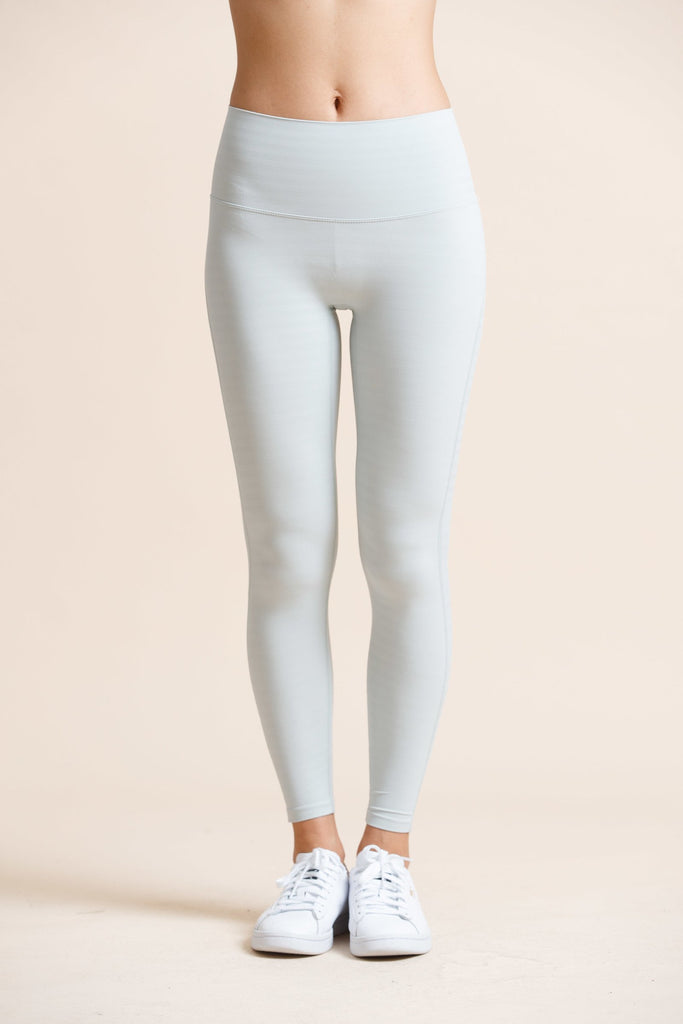 Seamless High-waist Strip Naked Legging-Water Green