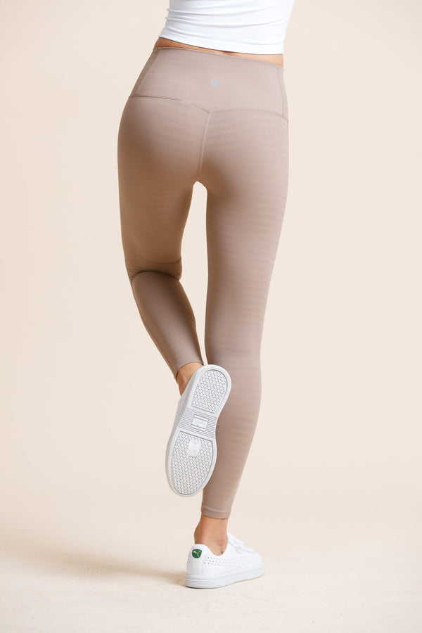 Seamless High-waist Strip Naked Legging-Milktea