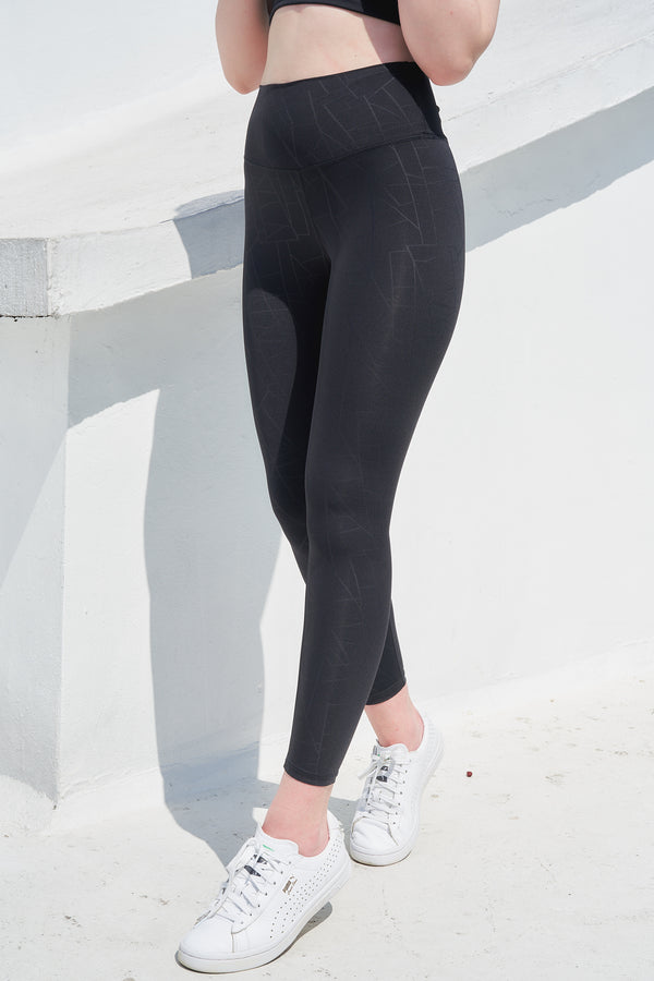 High-waist Lightweight Printing Legging-Linear Black