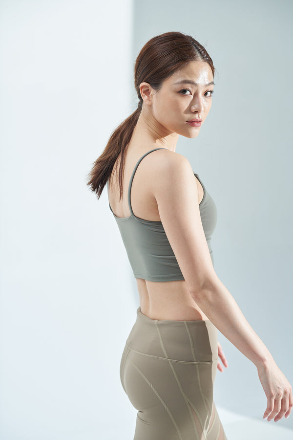 Light-Support Tank Sports Bra-Greygreen
