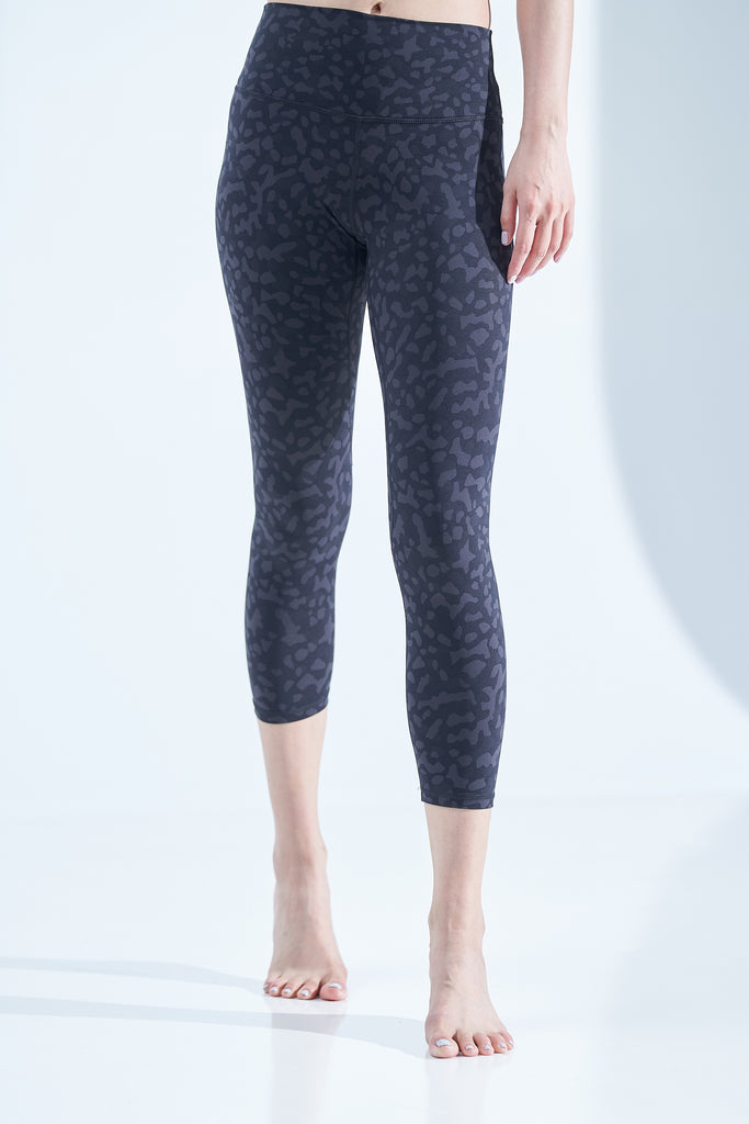 High-waist Lightweight Printing Legging-Leopard Black