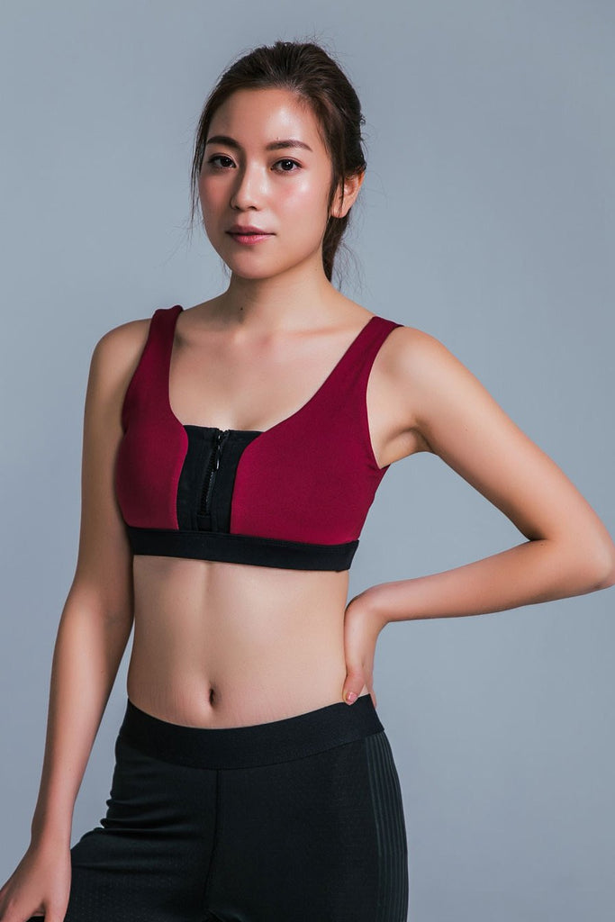 Maximum-Support Zip Sports Bra - Red - PrettyAim Thailand