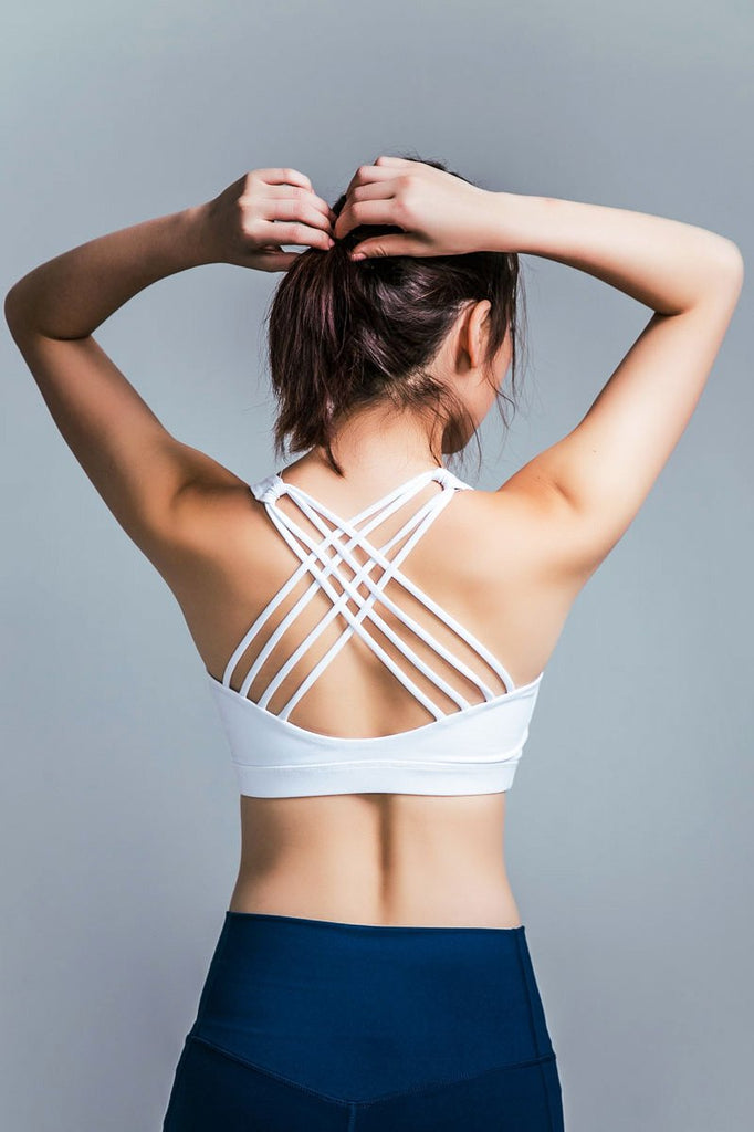 Medium-Support Cross Sports Bra - White - PrettyAim Thailand