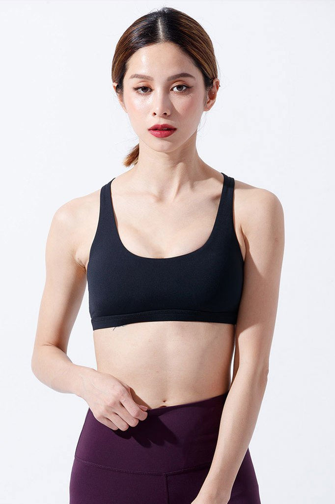 Medium-support Cross Beauty Sports Bra - Black - PrettyAim Thailand