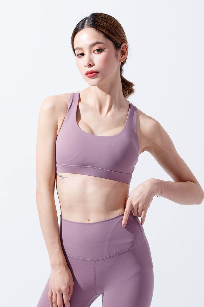Medium-Support Fashion Color Sports Bra - Mistyrose - PrettyAim Thailand