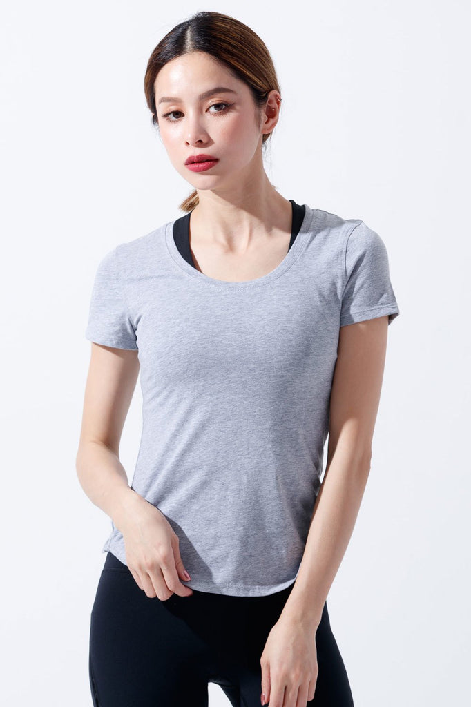 Slim Cotton Short Sleeve Tee-Gray(ผ้าฝ้าย) - PrettyAim Thailand