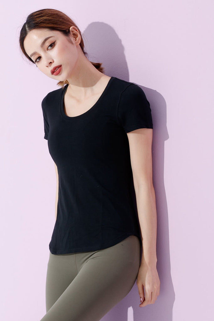 Slim Cotton Short Sleeve Tee-Black(ผ้าฝ้าย) - PrettyAim Thailand