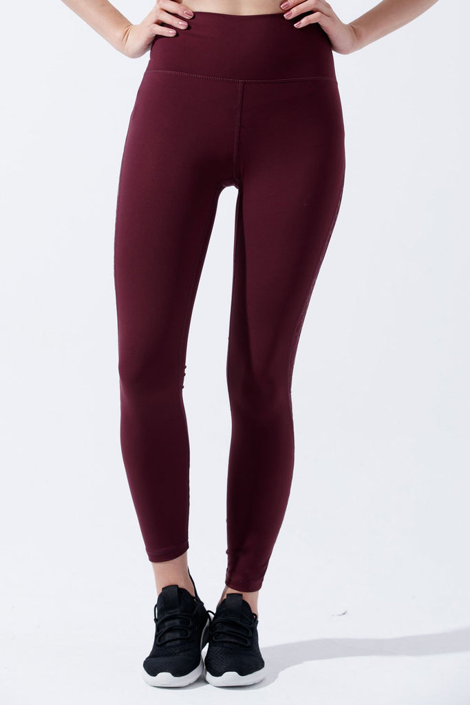 High-waist Stylish Legging- Dark Red - PrettyAim Thailand