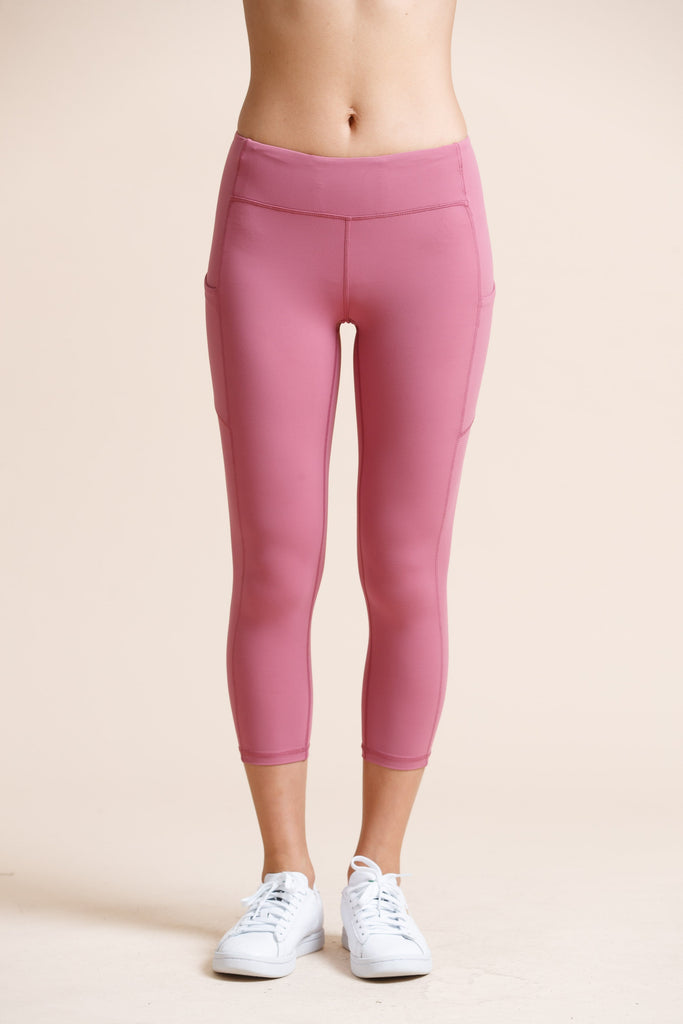 High-waist Pocket Capri-Rose - PrettyAim Thailand