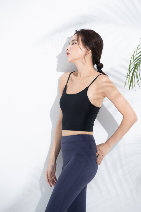 Light-Support Tank Sports Bra-Black