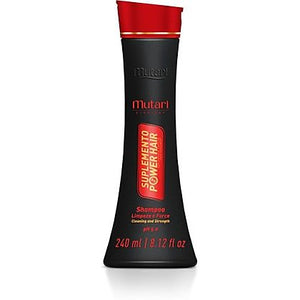 Suplemento Power Hair Shampoo Mutari - 240ml / 8.12fl oz - Mutari Power Hair Supplement - Mask 300g / 10.58oz - Repair the hair fiber promoting sealing of cuticles and smoothness. Hair strength and resistance.