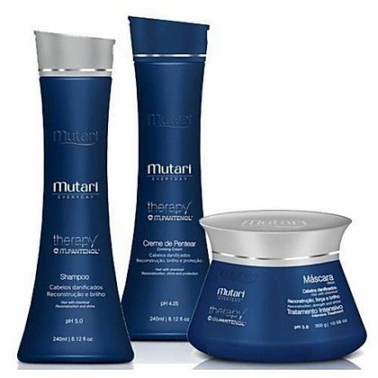 Therapy Pantenol Set Mutari - 3 Steps - Shampoo 240ml / 8.12fl oz + Mask 300g /10.58oz  + Leavin 240ml / 8.12fl oz - Reconstruction and Hydration Line - For dry or chemical hair.