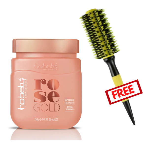 Combo Rose Gold Mask 750g/ 26.46oz + Hair Brush Free #3.5cm - For brittle hair that needs growth and resistance. WITH BIOTIN.
