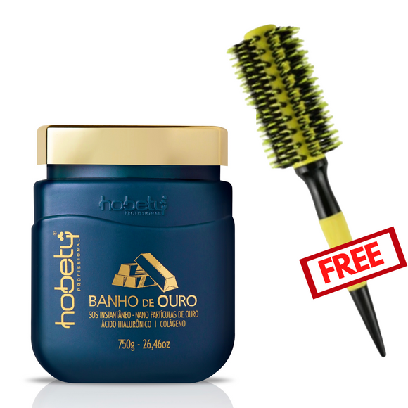 Combo Gold Mask 750g. / 26.46oz + Hair Brush free #3.5cm - For all hair types, with hyaluronic acid, hydrolyzed keratin for instant strand repair.