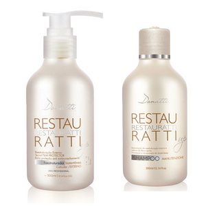 Combo Restauratti 10fl oz +  Shampoo 300ml/10.58fl oz - It acts directly on the hair fiber, strengthening it and restoring it from the aggressions caused by chemical processes.