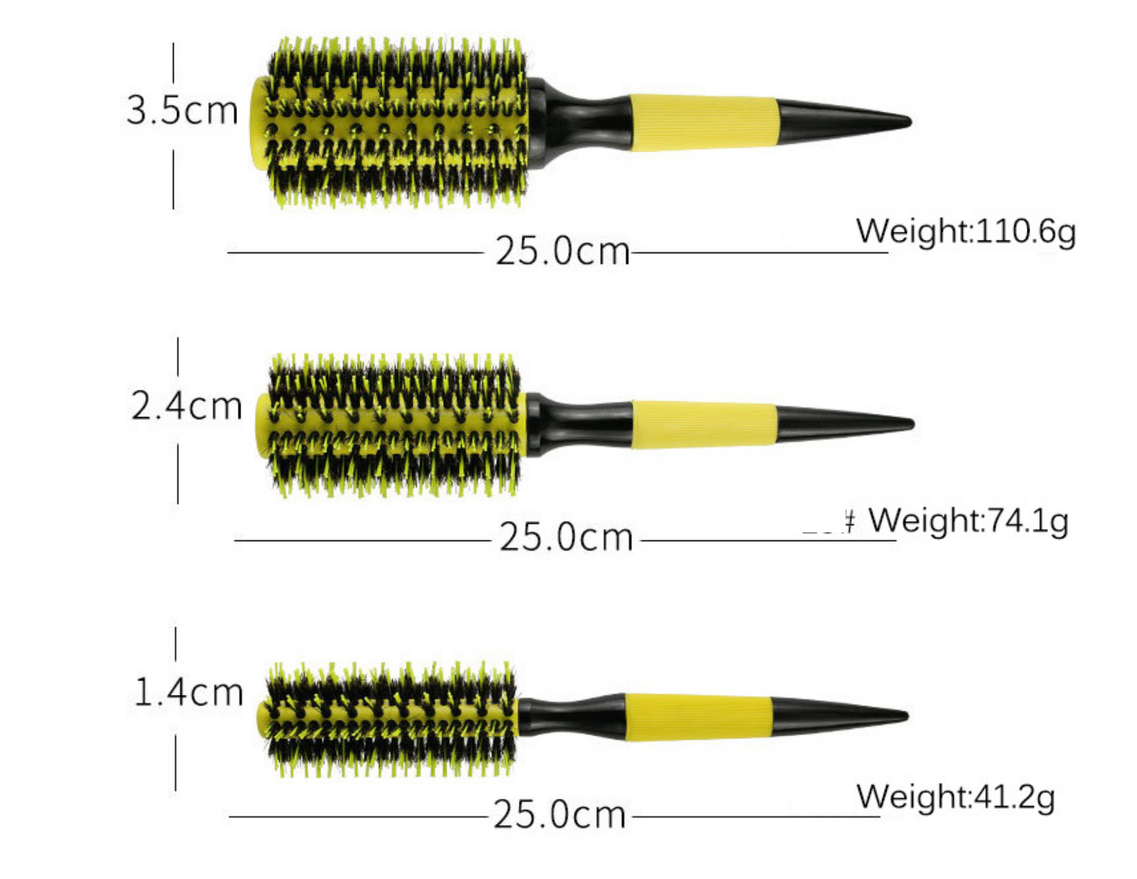 Hair Brush bright yellow round straightening - 4 options for your choice ( #3.5cm / #2.4cm / #1.4cm / Set 3 pieces )