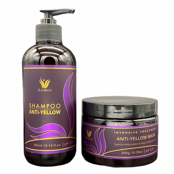 Anti Yellow SET Ranbass - Purple Shampoo 300ml / 10.58fl oz + Conditioner 300g / 10.58oz - For blonde, gray and gray hair. Neutralizes unwanted yellow and orange tones.