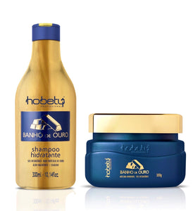 Gold Set - Baño de Oro -  2 Steps - Home Care (Shampoo + Mask) - For all hair types, with hyaluronic acid, hydrolyzed keratin for instant strand repair.