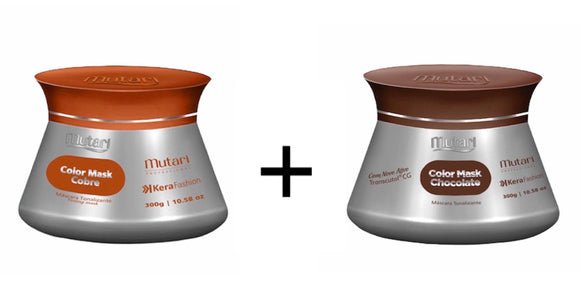 Color Mask Mutari / Color Conditioner  - 300g / 10.58oz - SET COPPER + CHOCOLATE - Intensifies, tones and revives the color of the hair.
