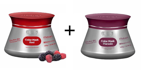Color Mask Mutari/Color Conditioner - 300g / 10.58oz - RED + WINE SET - Intensifies, tones and revives hair color.