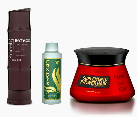 COMBO BAMBOO BROWN SHAMPOO - 300ML / 10.14FL OZ + HAIR VOLUME REDUCER R-BTX40 RANBASS - 118ML / 4OZ (SMALL)  + POWER HAIR SUPPLEMENT CONDITIONER - MASK 300G
