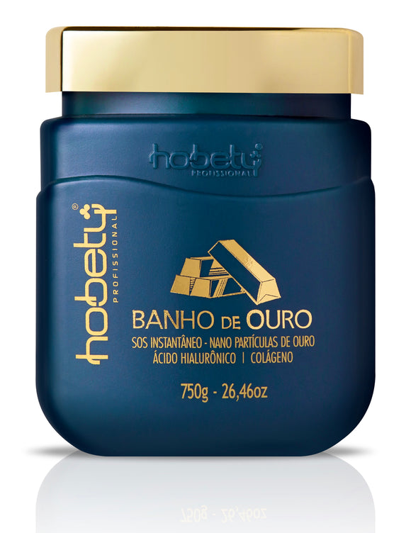 Gold Mask - Baño de Oro Conditioner /  Mask - 26.46oz - 750g - For all hair types, with hyaluronic acid, hydrolyzed keratin for instant strand repair.