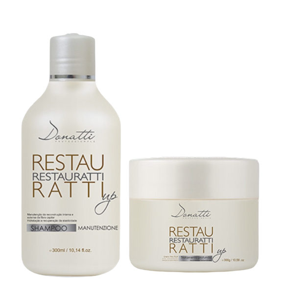Restauratti Home Care 2 steps (Shampoo 300ml/10.58fl oz  + Mask 300g/10.58oz) - Repairs damaged hair by bleaching or coloring. Returns strength and resistance to hair.
