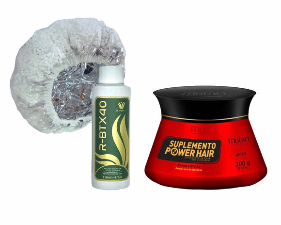 Special Combo 2021 / Frizz Control - Hair Volume Reducer R-BTX40 4oz + Power Mask 10.58fl oz + Thermal Cap for Deep Conditioning