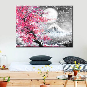 Japanese Style Cherry Blossom Fuji Mountain Landscape Watercolor Oil Painting Canvas