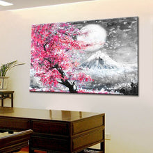 Load image into Gallery viewer, Japanese Style Cherry Blossom Fuji Mountain Landscape Watercolor Oil Painting Canvas