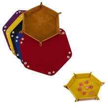 Load image into Gallery viewer, Leather Folding Hexagon Dice Tray