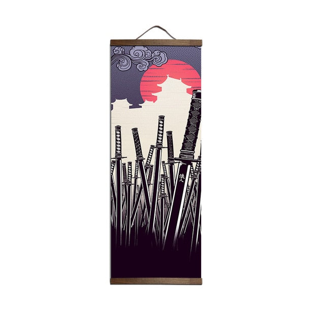 Japanese Ukiyoe for canvas posters with solid wood hanging scroll