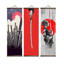Load image into Gallery viewer, Japanese Ukiyoe for canvas posters with solid wood hanging scroll