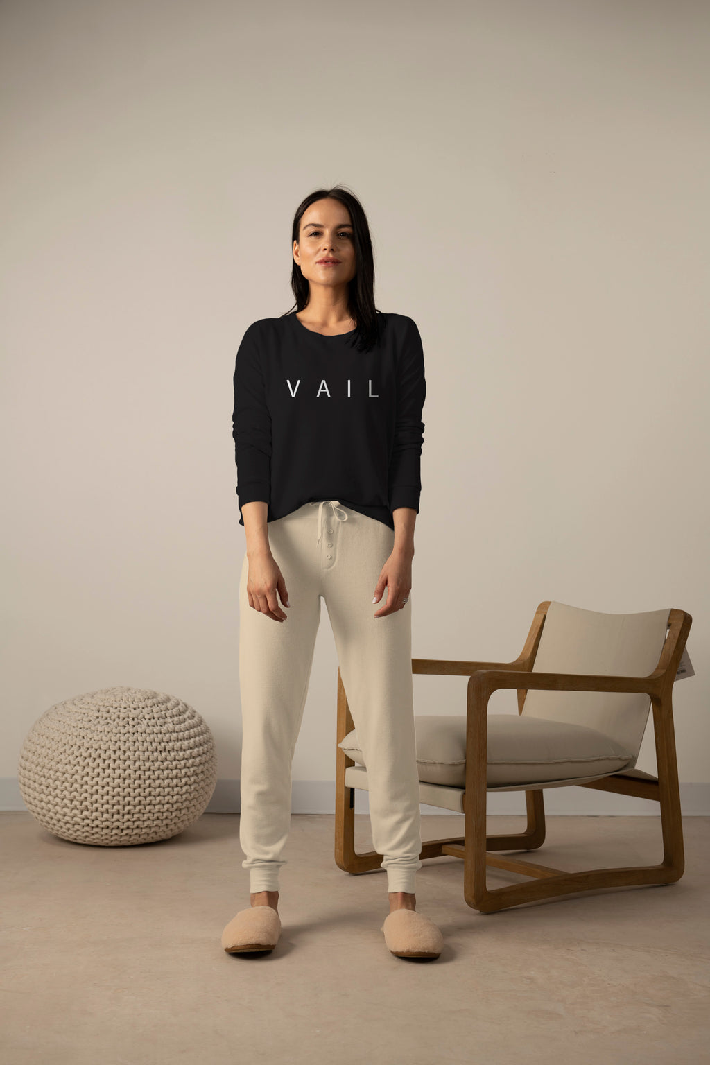 Hello from Vail long sleeve top in back to black