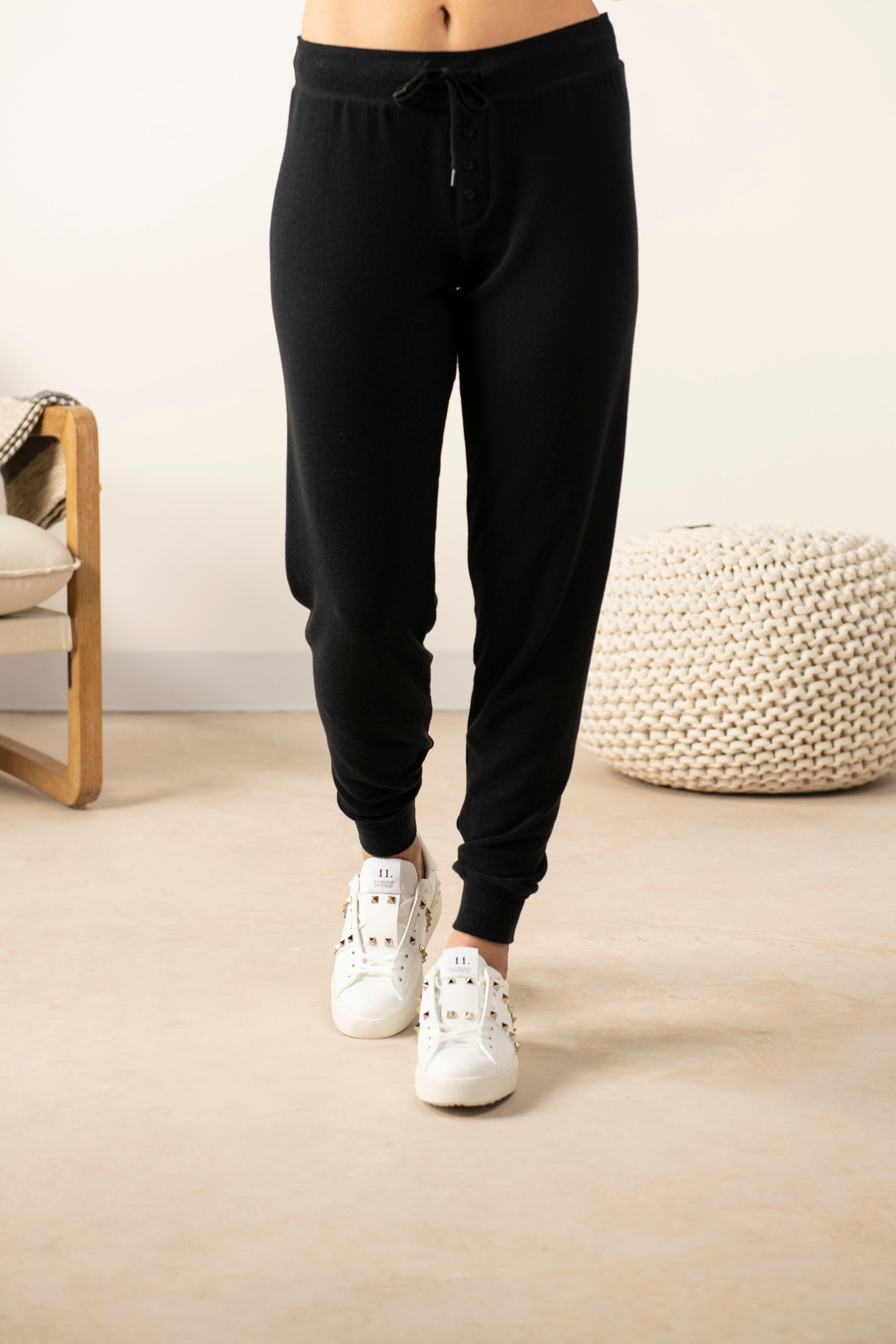 Cozy banded joggers in back to black